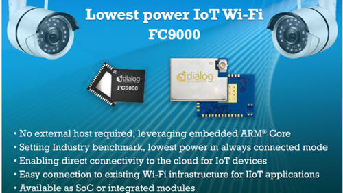 Dialog semiconductor launches its latest ultra-low power wi-fi SoC to accelerate IoT deployment